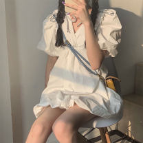Dress Spring 2021 white S M L XL Short skirt singleton  Short sleeve commute V-neck High waist Solid color A-line skirt bishop sleeve 18-24 years old Homltiaml / hancho Korean version More than 95% other Other 100% Pure e-commerce (online only)