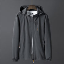 Jacket Fashion City Dark grey blue black 4XL 5XL 6XL 7XL 8XL L XL 2XL 3XL thin standard Other leisure spring Polyamide fiber (nylon) 90% polyurethane elastic fiber (spandex) 10% Long sleeves Wear out Detachable cap Basic public Large size routine Zipper placket Cloth hem No iron treatment Solid color