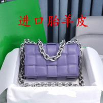 Bag The single shoulder bag Sheepskin Small square bag brand new European and American fashion in leisure time soft Cover type no Solid color Single root One shoulder cross nothing youth Pillow shape weave Sheepskin