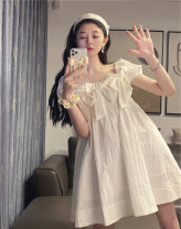 Dress Spring 2021 white S M L XL Middle-skirt Short sleeve commute Crew neck High waist Solid color Socket routine Others 18-24 years old Yunshu Korean version YS2104042 More than 95% other Other 100% Pure e-commerce (online only)