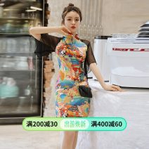 cheongsam Spring 2020 S,M,L,XL Decor Short sleeve Short cheongsam Retro Low slit daily Round lapel Decor 18-25 years old Piping Weisilu polyester fiber 96% and above