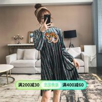 Dress Spring 2020 blackish green S,M,L,XL Mid length dress singleton  Long sleeves commute stand collar Loose waist stripe Socket A-line skirt routine 18-24 years old Type A Retro Patchwork, embroidery 71% (inclusive) - 80% (inclusive)