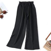 Casual pants black Average size Spring 2021 trousers Wide leg pants Natural waist Versatile Thin money 96% and above Nine silkworms silk silk
