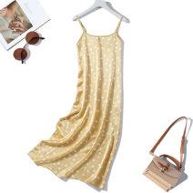 Dress Spring 2021 Yellow dot L,XL Mid length dress singleton  Sleeveless commute Loose waist Dot other routine Type H More than 95% silk