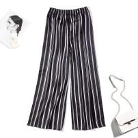 Casual pants Black and white note Average size Spring 2020 Ninth pants Wide leg pants Natural waist Versatile Thin money 91% (inclusive) - 95% (inclusive) Nine silkworms silk silk