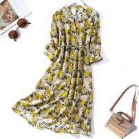 Dress Spring 2021 Yellow flowers L,XL Mid length dress singleton  Long sleeves commute stand collar Loose waist Decor Single breasted routine Type H More than 95% silk