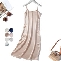 Dress Spring 2021 Light pink, blue, champagne powder, bean green, light yellow green, bean paste powder, goose yellow XL,L Mid length dress singleton  commute Loose waist Solid color Socket camisole Type H Nine silkworms Simplicity More than 95% Silk and satin silk