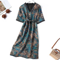 Dress Spring 2021 Blue ink flower Loose one size fits all Mid length dress singleton  elbow sleeve commute V-neck Loose waist Decor other pagoda sleeve Others Type H More than 95% silk
