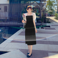 Dress Summer 2021 black S,M,L,XL longuette singleton  Short sleeve commute square neck Elastic waist Solid color Socket A-line skirt routine Others 25-29 years old Type A Other / other lady Splicing, mesh 91% (inclusive) - 95% (inclusive) Chiffon polyester fiber