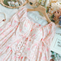 Dress Summer 2021 Pink S,M,L Short skirt singleton  Long sleeves Sweet One word collar High waist Decor other Ruffle Skirt routine Others 25-29 years old Type A Bandage 30% and below Chiffon solar system