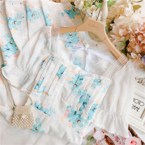 Dress Summer 2021 white S,M,L longuette singleton  Short sleeve commute square neck High waist Big flower other other Lotus leaf sleeve Others 25-29 years old Type A lady Lotus leaf edge 30% and below other