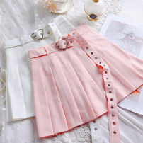 skirt Summer 2021 S,M,L White, black, pink Short skirt Sweet High waist Pleated skirt Solid color Type A 18-24 years old solar system