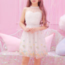 Dress Summer of 2018 White grey apricot Pink Average size Short skirt singleton  Sleeveless Sweet other Elastic waist Decor zipper Princess Dress other Hanging neck style 18-24 years old Type A 31% (inclusive) - 50% (inclusive) Lace hemp princess