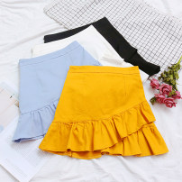 skirt Summer of 2018 S M L White yellow blue black Short skirt commute High waist Ruffle Skirt Solid color Type A 18-24 years old 30% and below other hemp Lotus leaf edge Korean version 40g / m ^ 2 and below