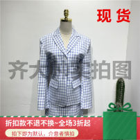 Fashion suit Summer of 2019 XS,S,M,L Suit - blue check (second hair), suit - Black Check (second hair), skirt - Black Check (second hair), skirt - blue check (second hair) 96% and above polyester fiber