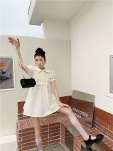 Dress Summer 2021 milky white S,M,L Middle-skirt singleton  Short sleeve Sweet Polo collar High waist Solid color zipper puff sleeve Others 18-24 years old Type A Other / other 31% (inclusive) - 50% (inclusive) polyester fiber princess