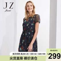Dress Spring of 2019 Huazhangqing XS S M L XL 2XL 3XL 4XL Mid length dress singleton  Long sleeves commute stand collar middle-waisted Broken flowers Socket Pleated skirt routine Others 30-34 years old Type X Jiuzi lady printing JWYX50041 More than 95% polyester fiber Polyester 100%