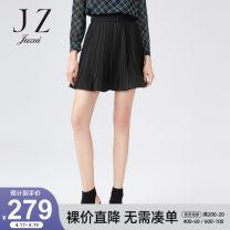 skirt Autumn 2020 XS S M L XL 2XL 3XL 4XL Plain black Short skirt High waist A-line skirt Solid color Type A 30-34 years old JWZQ20212- More than 95% Juzui / Jiuzi polyester fiber Lotus leaf edge 100.00% polyester