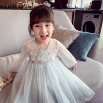 Dress Pink Blue female Elephant flower 90cm 100cm 110cm 120cm 130cm 140cm 150cm Other 100% spring and autumn Korean version Long sleeves Solid color other Splicing style XDSL321035 Class B Spring 2021 Chinese Mainland