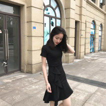 Dress Summer 2021 black S,M,L,XL,2XL Miniskirt singleton  Short sleeve Crew neck High waist Solid color Socket Irregular skirt routine Others 18-24 years old Type A CINISIOR other other