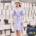Dress Summer of 2019 155/80A/S 160/84A/M 165/88A/L 170/92A/XL 175/96A/XXL Mid length dress singleton  Short sleeve commute V-neck Loose waist lattice Socket A-line skirt routine Others 18-24 years old Type A Meters Bonwe Korean version Lace up printing with ruffles 81% (inclusive) - 90% (inclusive)