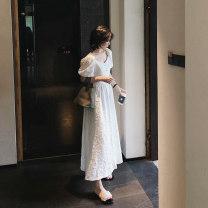 Dress Summer 2020 Black, white S,M,L Mid length dress Short sleeve commute Solid color Socket Big swing puff sleeve Korean version cotton