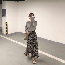 skirt Summer of 2019 Average size Leopard Print longuette Versatile Natural waist Leopard Print Type A