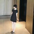 Dress Summer 2021 black S,M,L Short skirt singleton  Short sleeve commute Doll Collar Solid color Socket A-line skirt routine Type A cotton