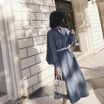 Dress Winter 2017 Average size Mid length dress singleton  Long sleeves commute stand collar Loose waist Solid color Single breasted A-line skirt routine Others Type A Simplicity