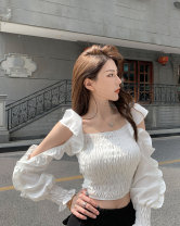 shirt white Average size Summer 2021 other 81% (inclusive) - 90% (inclusive) Long sleeves commute Regular square neck Socket Solid color 18-24 years old Self cultivation Other / other Korean version