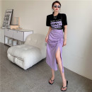 skirt Summer 2021 S. M, l, average size Black T-shirt, apricot T-shirt, purple skirt, green skirt Mid length dress commute High waist Irregular Solid color Type A 18-24 years old 81% (inclusive) - 90% (inclusive) Korean version