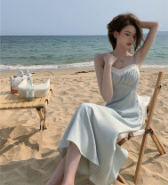 Dress Summer 2021 Mint Green S, M longuette singleton  Sleeveless commute High waist Solid color Big swing camisole 18-24 years old Type A Korean version 81% (inclusive) - 90% (inclusive)