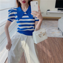 Wool knitwear Summer 2021 Average size Blue and white stripes, black and white stripes Short sleeve singleton  Socket other 81% (inclusive) - 90% (inclusive) Regular routine commute Self cultivation Polo collar puff sleeve stripe Socket 18-24 years old