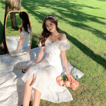 Dress Summer 2021 White fishtail skirt S,M,L longuette singleton  Short sleeve commute One word collar High waist Solid color A-line skirt 18-24 years old Type A Korean version 81% (inclusive) - 90% (inclusive)