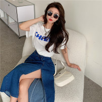 skirt Summer 2021 S. M, l, XL, one size fits all T-shirt, denim skirt Mid length dress commute High waist A-line skirt Solid color Type A 18-24 years old 81% (inclusive) - 90% (inclusive) Korean version