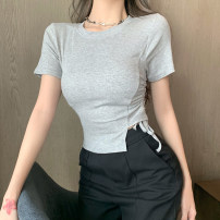 T-shirt Gray, white, black Average size Summer 2021 Short sleeve Crew neck Self cultivation have cash less than that is registered in the accounts routine commute other 71% (inclusive) - 85% (inclusive) 18-24 years old Korean version Solid color Asymmetry