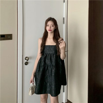 Dress Summer 2021 Blue and purple flowers, swan black S, M Short skirt singleton  Sleeveless commute High waist zipper Princess Dress camisole 18-24 years old Korean version 81% (inclusive) - 90% (inclusive) other