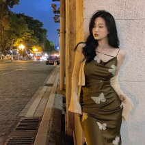 Dress Summer 2021 S. M, average size Mid length dress Two piece set Sleeveless commute square neck Animal design Socket other camisole 18-24 years old 81% (inclusive) - 90% (inclusive)