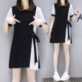 Women's large Summer 2020 black L XL 2XL 3XL 4XL 5XL Dress singleton  commute easy thin Socket Short sleeve Solid color Crew neck Medium length Three dimensional cutting Povera 25-29 years old Medium length Other 100% Pure e-commerce (online only) bow