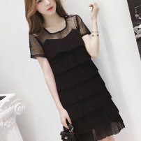 Dress Summer 2021 Black and white S M L XL 2XL 3XL 4XL Mid length dress singleton  Short sleeve commute Crew neck High waist Solid color Socket Cake skirt routine Others 25-29 years old Type A Povera Korean version Hollow fold splicing More than 95% Chiffon other Other 100%