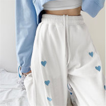 Casual pants Grey white black XXL S M L XL Spring 2021 trousers Straight pants High waist commute Thin money 18-24 years old 30% and below Ming Na Qiu Ding cotton Korean version Embroidery cotton Polyester 65% Cotton 30% polyurethane elastic fiber (spandex) 5% Pure e-commerce (online only) Asymmetry