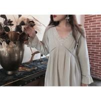 Pajamas / housewear set female Night's Lure 155(S) 160(M) 165(L) 170(XL) Bean green nightdress crescent white nightdress bean green suit cotton Cotton 100% Spring 2021