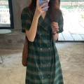 Dress Summer 2021 Green check, red check Average size longuette singleton  Short sleeve tailored collar High waist lattice double-breasted other routine 18-24 years old Type H Button 51% (inclusive) - 70% (inclusive) other polyester fiber