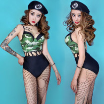 National costume / stage costume Fall of 2018 Color matching black one-piece suit and black police cap M L