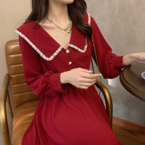 Nursing clothes Red lactation, red regular M,L,XL,2XL,3XL,4XL The most beautiful Mommy Socket Autumn and winter Long sleeves have more cash than can be accounted for Korean version Dress Solid color Side opening Cored yarn