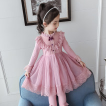 Dress female 100cm,110cm,120cm,130cm,140cm,150cm Other 100% spring and autumn princess Long sleeves Solid color other Splicing style Class B Three, four, five, six, seven, eight, nine, ten, eleven, twelve Chinese Mainland Guangdong Province Foshan City
