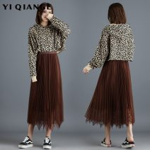 skirt Autumn 2020 Average size Black apricot dark green champagne Grey Pink Mid length dress commute High waist Pleated skirt Solid color Type A 25-29 years old YQGA7060 91% (inclusive) - 95% (inclusive) other According to shallow case polyester fiber Gauze lace Korean version Other polyester 95% 5%