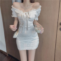 Dress Summer 2021 white S, M Short skirt singleton  Short sleeve commute One word collar High waist Solid color Socket A-line skirt puff sleeve Others Type A Korean version More than 95% other other