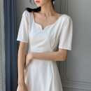 Dress Summer 2021 White, black S,M,L,XL Mid length dress singleton  Short sleeve commute square neck High waist Solid color Socket A-line skirt other Others Type A Korean version More than 95% other other