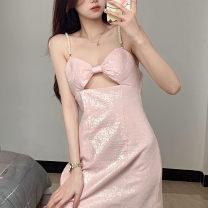 Dress Summer 2021 Pink S, M Short skirt singleton  Short sleeve commute V-neck High waist Solid color zipper A-line skirt other camisole Type X Korean version More than 95% other other